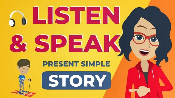English present simple story to practice listening and speaking-video